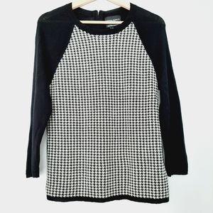 CYNTHIA ROWLEY 100% Merino Wool 3/4 Sleeve B&W Houndstooth Sweater L